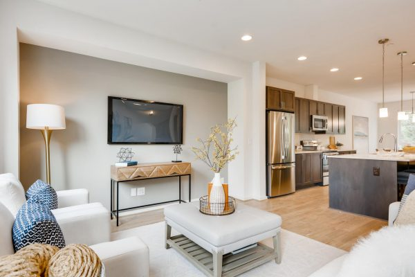 The Renzo at Westbrook by Sage Homes living room and kitchen
