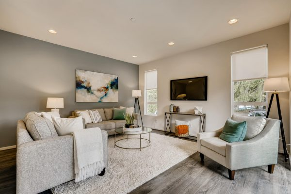Living Room of the Mies at Westbrook in Lynwood by Sage Homes