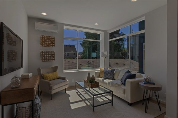 The Nuetra Townhome Living room Darkened