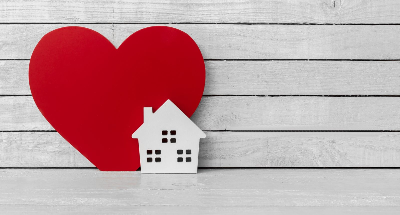 Heart and home shaped cut out together