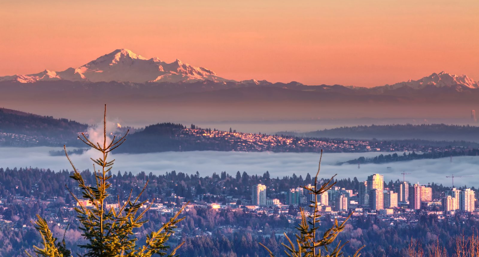 Foggy view of Mt Baker at sunset