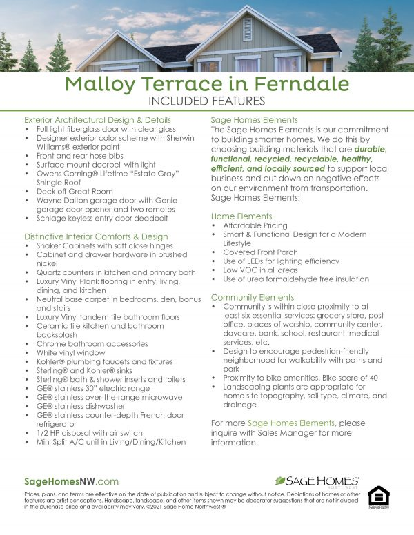 Malloy updated included features sheet