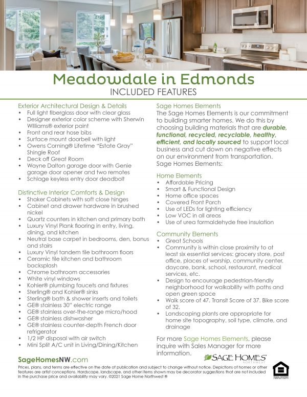 Meadowdale updated included features sheet